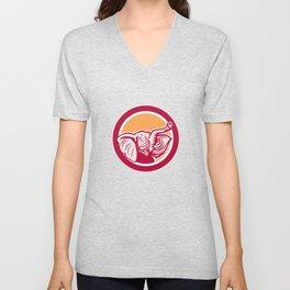 Elephant Head Tusk Circle Retro Unisex V-Neck