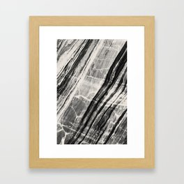 Abstract Marble - Black & Cream Framed Art Print