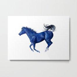 Happy Horse in Blue Metal Print