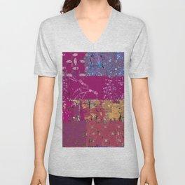 Fiber art, magenta mixed media, fabrics and digital Unisex V-Neck