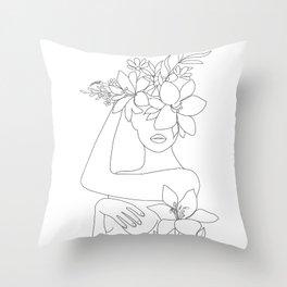 Minimal Line Art Woman with Flowers VI Throw Pillow