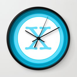 Blue letter X Wall Clock