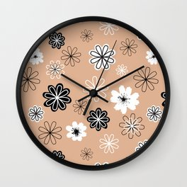 Black and White Flowers Peachy Wall Clock