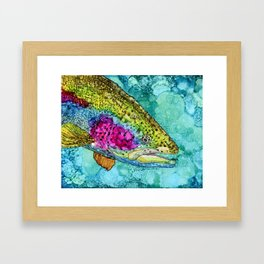 Rainbow Trout - Alcohol Ink Framed Art Print