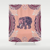 bohemian Shower Curtains featuring Bohemian Elephant  by rskinner1122