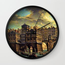 18th Century Paris, France along the River Seine by Jean Baptiste Nicolas Raguenet Wall Clock