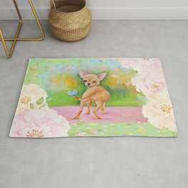 Chihuahua in the rose garden Rug