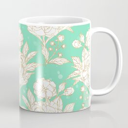stylish golden and mint floral strokes design Coffee Mug