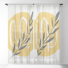 Boho leaf and cactus Sheer Curtain