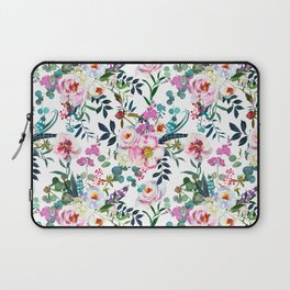 Pink purple green white watercolor bohemian feathers floral Laptop Sleeve