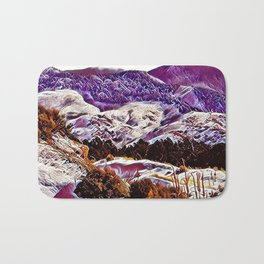 Winter Purple Pink Hills by CheyAnne Sexton Bath Mat