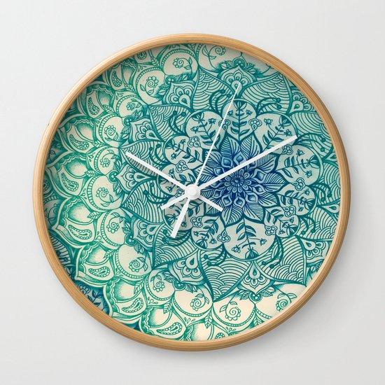 Emerald Doodle Wall Clock