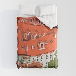 Red Roofs of Prague Cityscape Paper Collage Ink Sketch Comforters