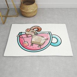 Kawaii Cute Goat-Tea Pun Rug