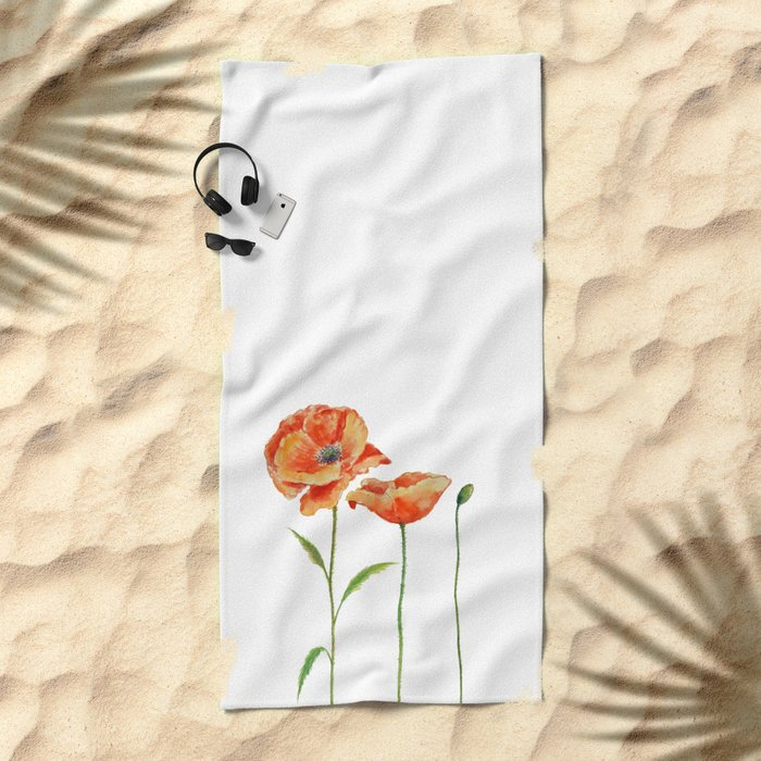 Simply poppy Vintage Watercolor illustration on white background on #Society6 Beach Towel