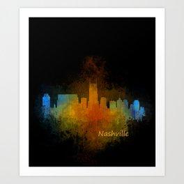 Nashville city skyline Tennessee watercolor v4 Dak Art Print