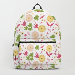 Springtime floral pattern, colourful graphic flowers, digital illustration Backpack