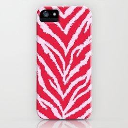 Red zebra fur texture iPhone Case