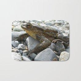 Bufo Bufo Toad Lounging On Stones Bath Mat