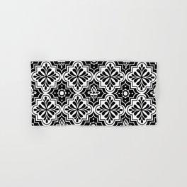 Black and White Geometric Ornamental Moroccan Pattern Hand & Bath Towel