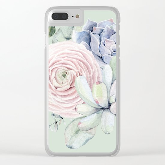 Mint Green + Pink Delight Succulents Clear iPhone Case