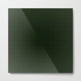 Dark Forest Green and Black Houndstooth Check Metal Print