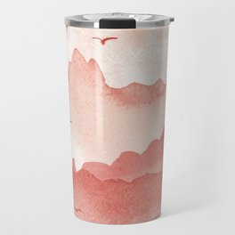 misty mountains - light red palette Travel Mug