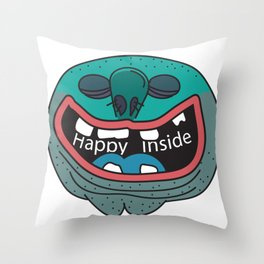Happy Inside (Blue Man) Throw Pillow