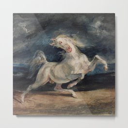 Horse Frightened by Lightning Metal Print