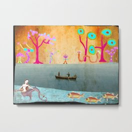 Row Boating to Monster Island Metal Print