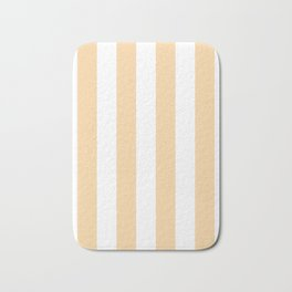 Vertical Stripes - White and Sunset Orange Bath Mat