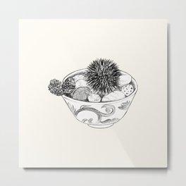Chestnut Burr & Pottery Metal Print