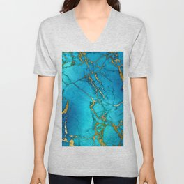 Gold And Teal Blue Indigo Malachite Marble Unisex V-Neck