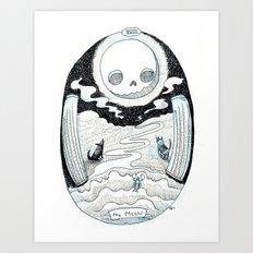 The Moon Skeleton Tarot Art Print