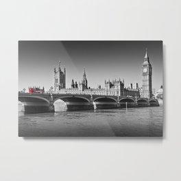 LONDON Westminster Bridge and Red Bus Metal Print