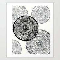 tree rings Art Prints featuring rings by Claire Rose Kleese