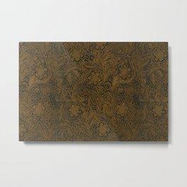Vintage Art Nouveau woodcut on faux leather pattern Metal Print