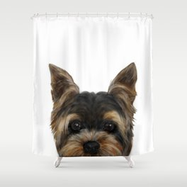 Yorkshire Terrier Mix colorDog illustration original painting print Shower Curtain