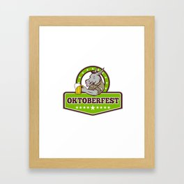 Donkey Beer Drinker Oktoberfest Retro Framed Art Print