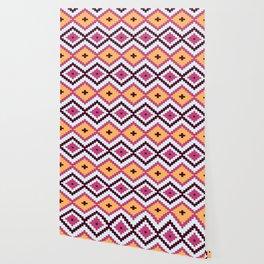 Pink And White Diamond Pattern Native Aztec Wallpaper