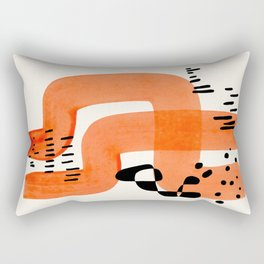 Fun Abstract Minimalist Mid Century Modern Orange Brush Strokes Watercolor Black Pattern Rectangular Pillow
