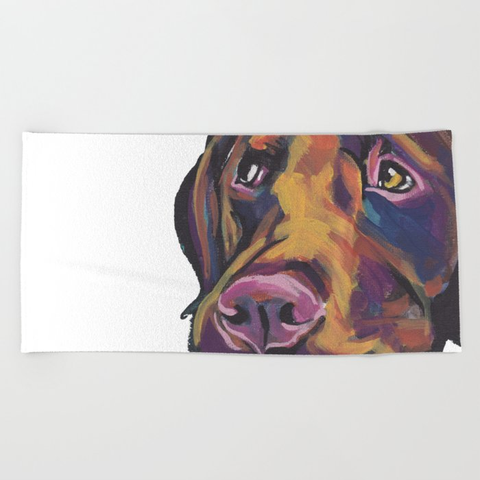 864d4533 Fun Chocolate Lab Dog bright colorful Pop Art Labrador Beach Towel. by
