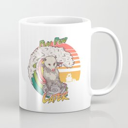 Play Dead Later - Funny Opossum T Shirt Rainbow Surfing On A Dumpster Can Lid Searching For Trash, Burning Dumpster Panda Summer Vibes Street Cats Possum Coffee Mug