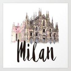 Milan watercolor Art Print