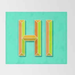 """HI"" 3D Letters (Mint Minty Green, Orange and Lime Green) Throw Blanket"