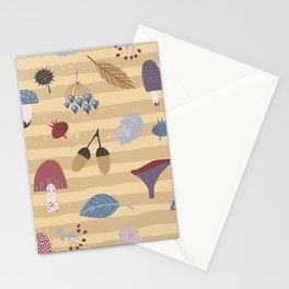 Geometrical brown blue autumn leaves mushroom stripes pattern Stationery Cards