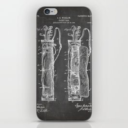 Golf Bag Patent - Caddy Art - Black Chalkboard iPhone Skin