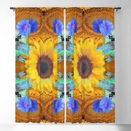 YELLOW SUNFLOWER BLUE DRAGONFLIES ART Blackout Curtain