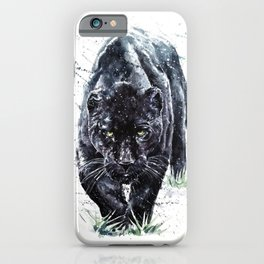 Panther watercolor painting predator animals puma iPhone Case