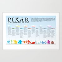 pixar Art Prints featuring Pixar throughout the years by Jess & Julia